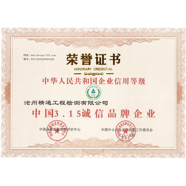 315誠信企業證書